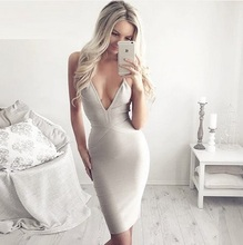 4 Colors Top Quality Yellow Black Red Nude Deep V-Neck Bandage Dress Evening Party Dress