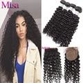 3 Bundles Malaysian Virgin Hair Deep Wave With Silk Base Closure Malaysian Deep Wave With Silk Closure Curly Hair With Closure