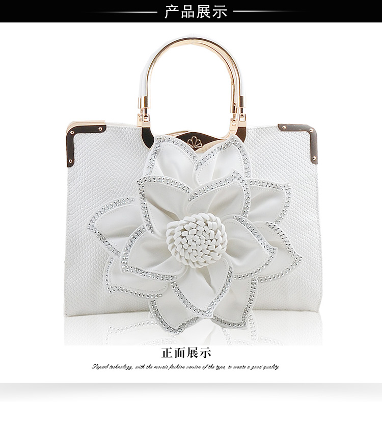 Qiao Duo Diamonds Big Flower PU Handbag Sweet Lady Leisure All Match Handbags for Party Travelling Daily TotesQiao Duo Diamonds Big Flower PU Handbag Sweet Lady Leisure All Match Handbags for Party Travelling Daily Totes