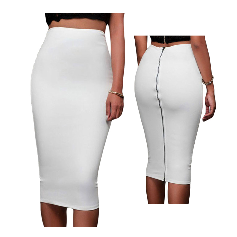 High Quality Solid Color Slim Fitted Pencil Skirt Ladies Formal Mid Calf High Waist Skirts Back Zipper OL Skirt Saias