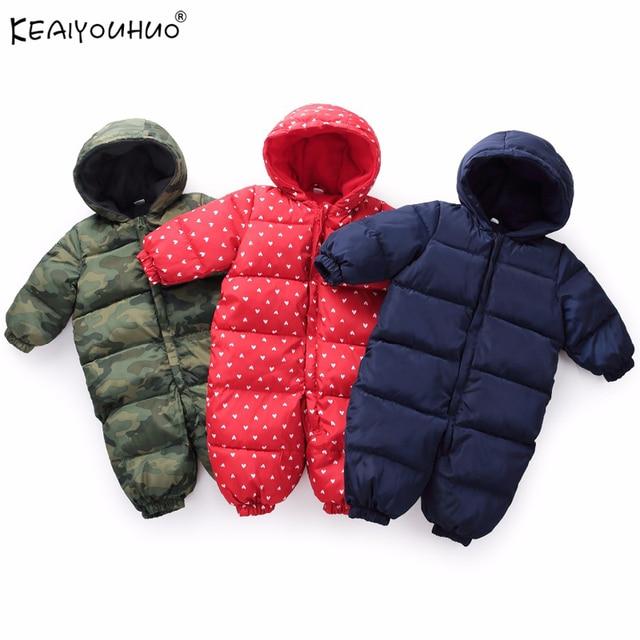 daaf6a70566b 2018 Winter Baby Boy Coats Long Sleeve Cotton Baby Girl Jumpsuits ...