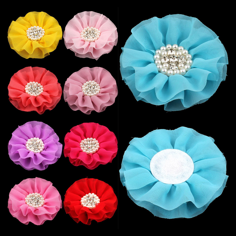 120pcs/lot 4 15colors Big Chiffon Flower+Rhinestone Pearl Button For Hair Accessories Artificial Fabric Flowers For Headbands 50pcs lot 4 1 17colors shabby lace mesh chiffon flower for kids girls hair accessories artificial fabric flowers for headbands