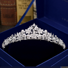 Fashion luxurious crystal flowers CZ zircon Princess crown wedding bride dinner banquet Beauty tiaras jewelry free