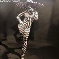 Для женщин сексуальная сцена комбинезон 3D с принтом Зебра Боди для ночного клуба вечерние праздновать Show танцор костюмы
