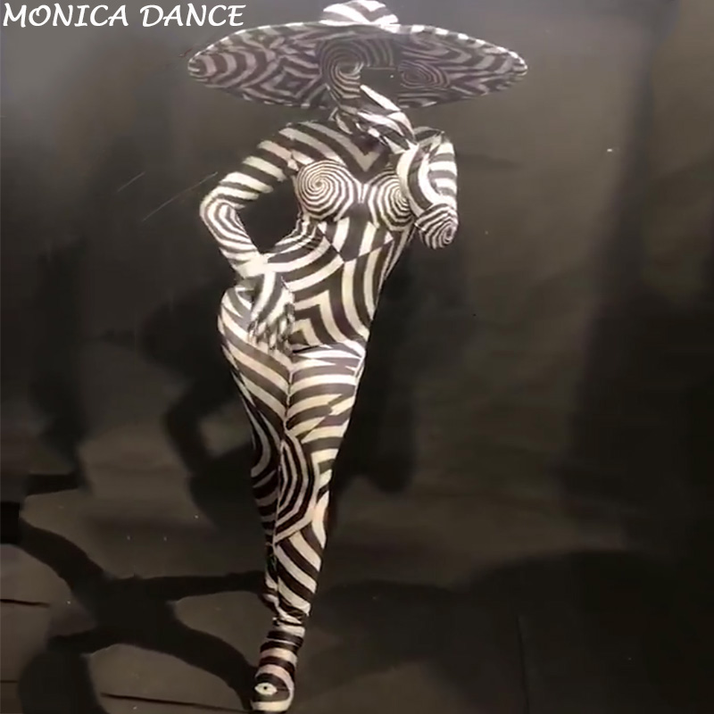 Women Sexy Stage Jumpsuit 3D Printed Zebra Pattern Bodysuit Nightclub Party Celebrate Show Dancer Costumes