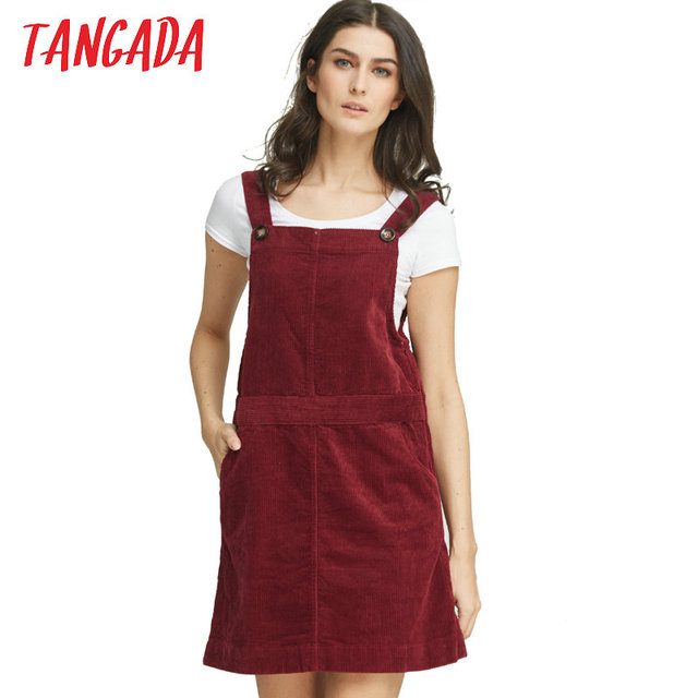 d17d42f41da Tangada Korean Fashion Autumn 2016 Women Elegant Pockets Suspender Skirt  Corduroy Sleeveless Overalls Skirts Female NRB125