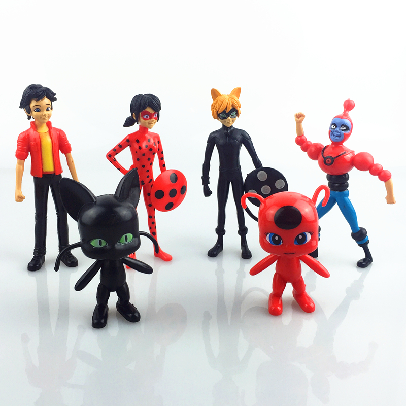 6PCS Set Miraculous Ladybug Cat Noir Adrien Marinette Plagg Tikki PVC Figures Boneca Set Doll Kids