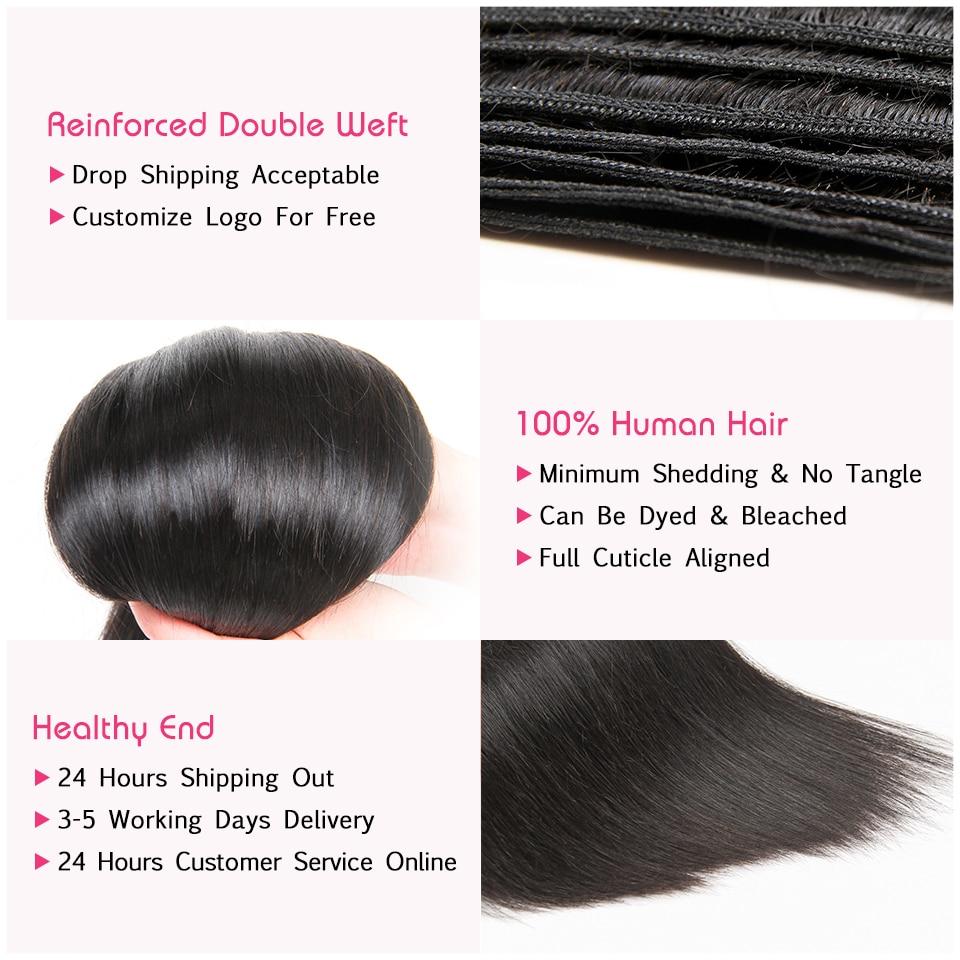 Malaysian Straight Human Hair Bundles With Lace Closure-2