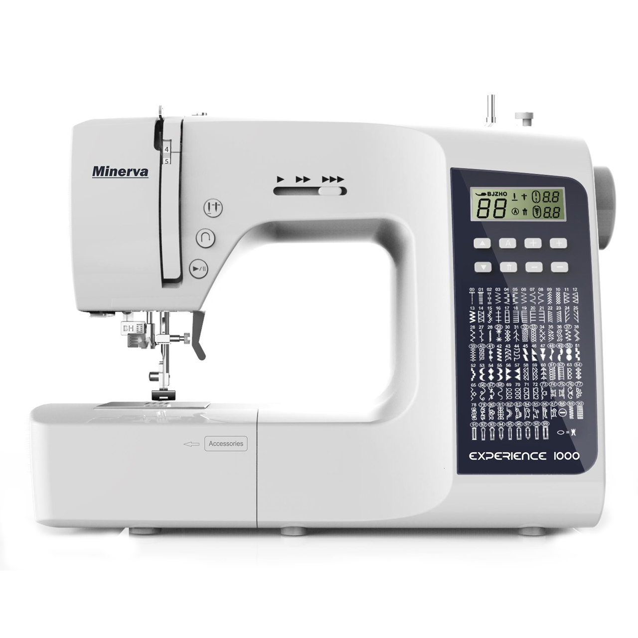 Sewing machine Minerva Experience 1000 (100 programs, electronic control, backlight, wide bundle) sewing machine minerva m840ds