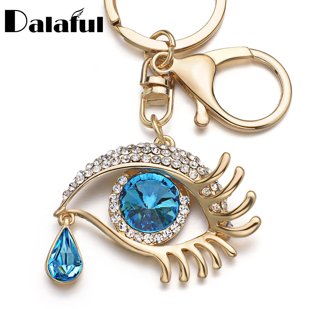 Dalaful Eye Tear Drop Key Chains Rings Holder Big Blue  Angel Eyes Bag Pendant For Car Keyrings KeyChains K294