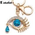 Evil Eye Tear Drop Key Chains Rings Holder Big Blue Rhinestone Angel Eyes Bag Pendant For Car Keyrings KeyChains K294