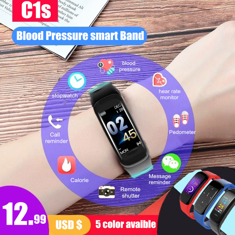 Longet C1s blood pressure Smart Bracelet Color Screen Fitness Tracker Heart Rate Monitor sleep tracker Wristband For Android IOS все цены