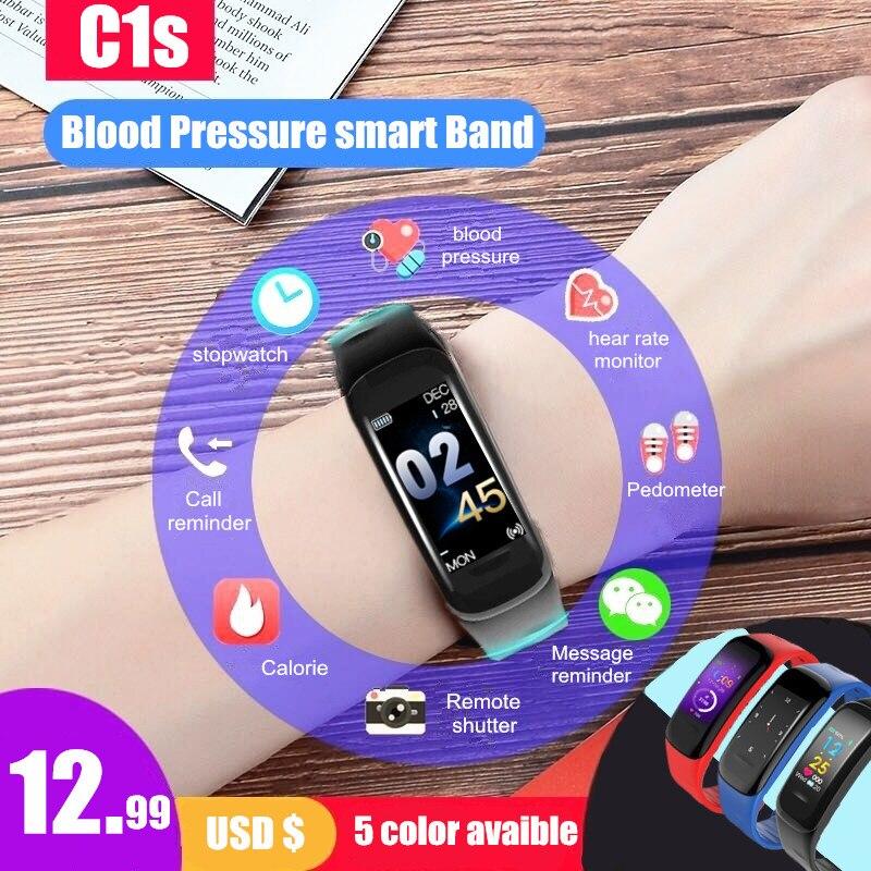 Longet C1s presión arterial pulsera inteligente pantalla Color Fitness Tracker Monitor de ritmo cardíaco sleep tracker para Android IOS