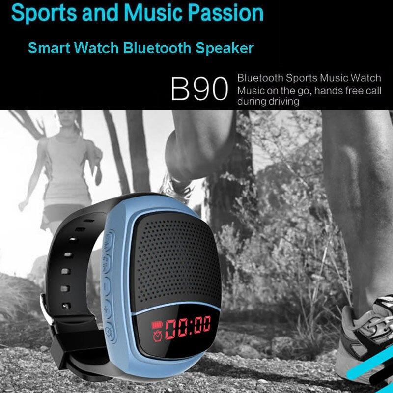 B90 Sports Bluetooth Speaker Hands-free Call TF Card Playing FM Radio Self-timer Wireless Speakers <font><b>Smart</b></font> <font><b>Watch</b></font> Time Display