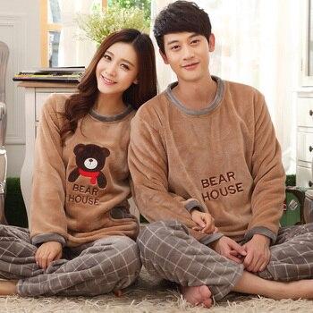 Autumn And Winter Lovers Sleepwear Coral Fleece Thickening Flannel Sleepwear Lounge