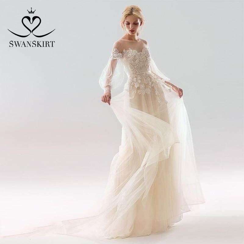 Romantic Wedding Dresses 2019: Swanskirt Romantic Tulle Wedding Dress 2019 Appliques Bow