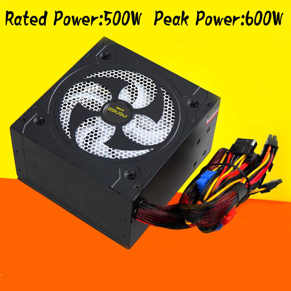 PC PSU Power Supply Komputer Nilai 500 W 500 Watt 12 Cm Fan 12V ATX PC Power Supply Emas 80 Plus untuk Game Kantor
