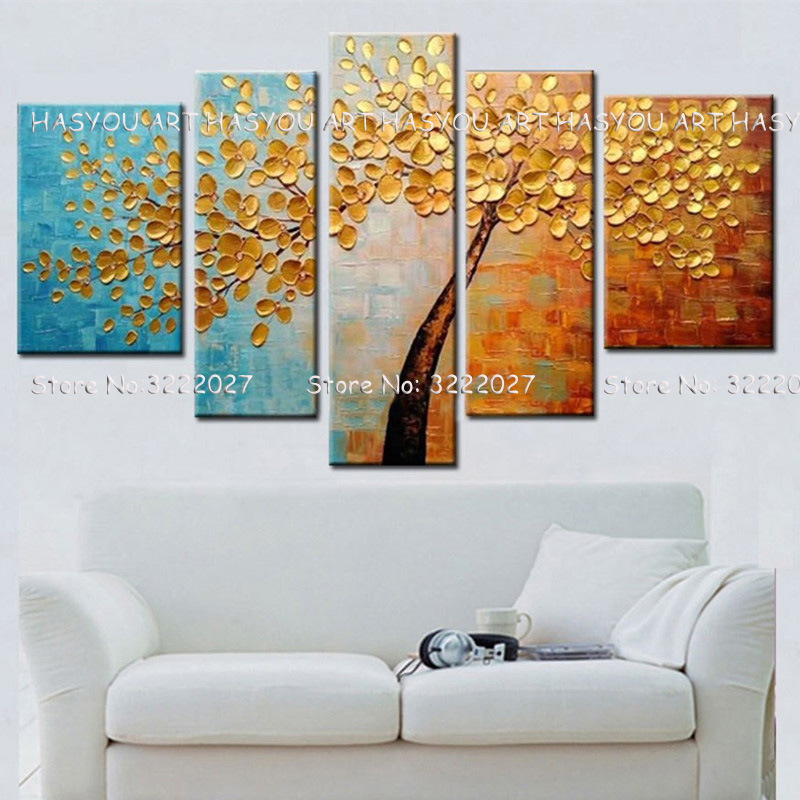5Pcs Money golden Romantic Painting Pure Hand painted art Modern Home Wall Art Picture Oil Painting For Wedding Decoration in Painting Calligraphy from Home Garden
