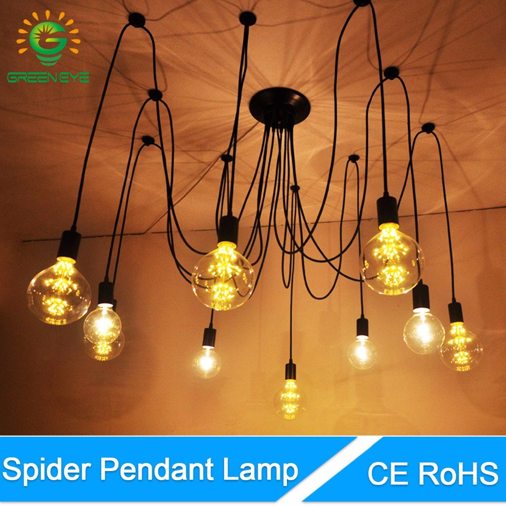 GreenEye Vintage Nordic Spider Pendant Lamp Loft Multiple Adjustable Retro Pendant Lights Decorative Fixture Lighting Led Home 10 lights creative fairy vintage edison lamp shade multiple adjustable diy ceiling spider pendent lighting chandelier 10 ligh