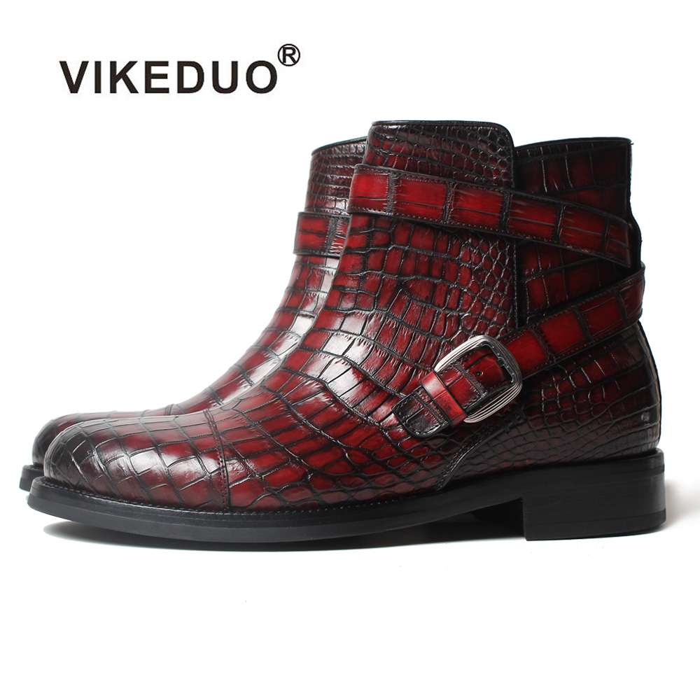 Vikeduo 2018 Classic Custom Handmade Fashion Luxury Office Genuine Leather boots Designer Winter Snow Crocodile Dress Men Boots