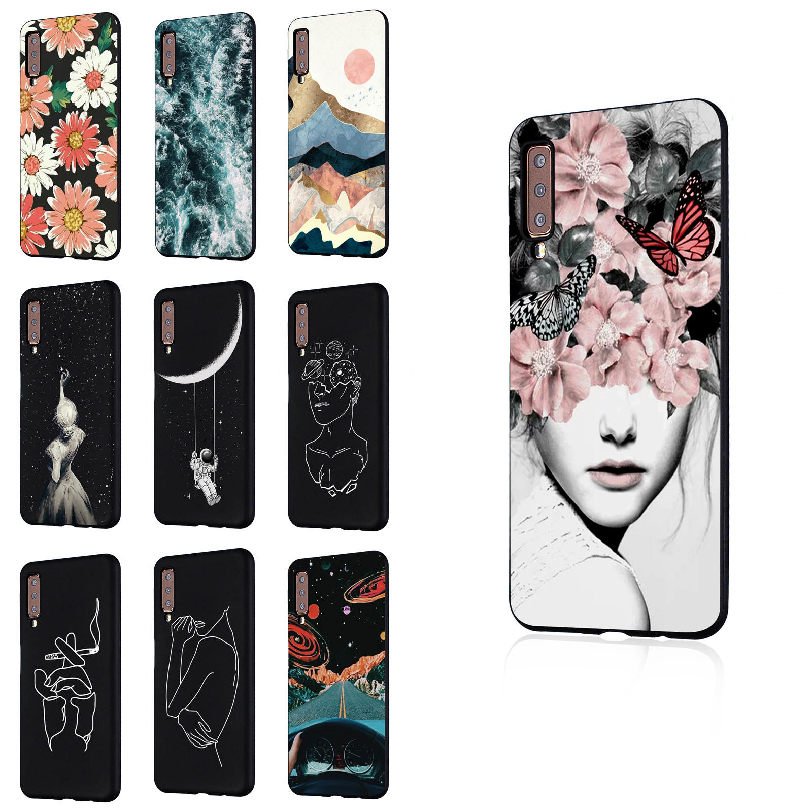 For Samsung  A9 2018 J6 Plus A6 Plus Ultra Slim Soft TPU Black Shockproof Rubber Gel Case Cover