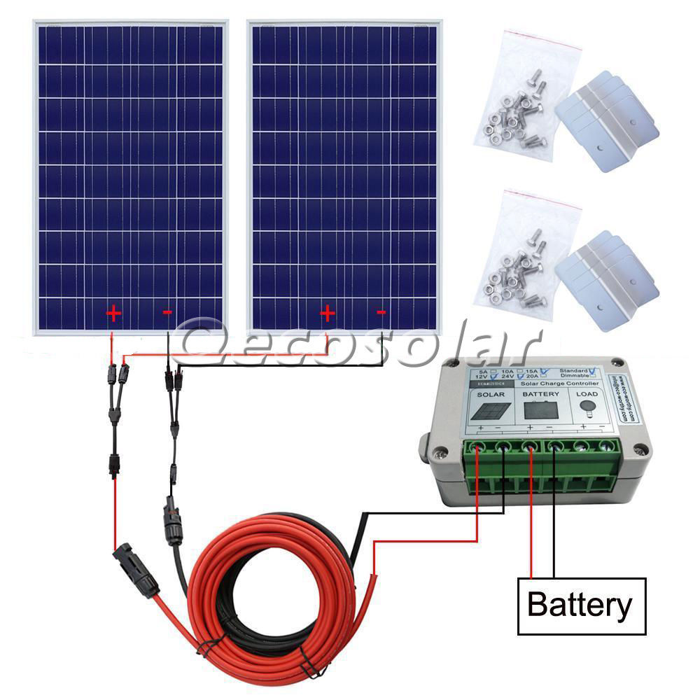 200w off grid solar system with 2 piece 100w solar panel, solar cell panel & mounting, charge 12v/24v battery of RV boat, car eco 6pcs 100w mono solar panel 600w 24v off grid battery power charge cmping rv