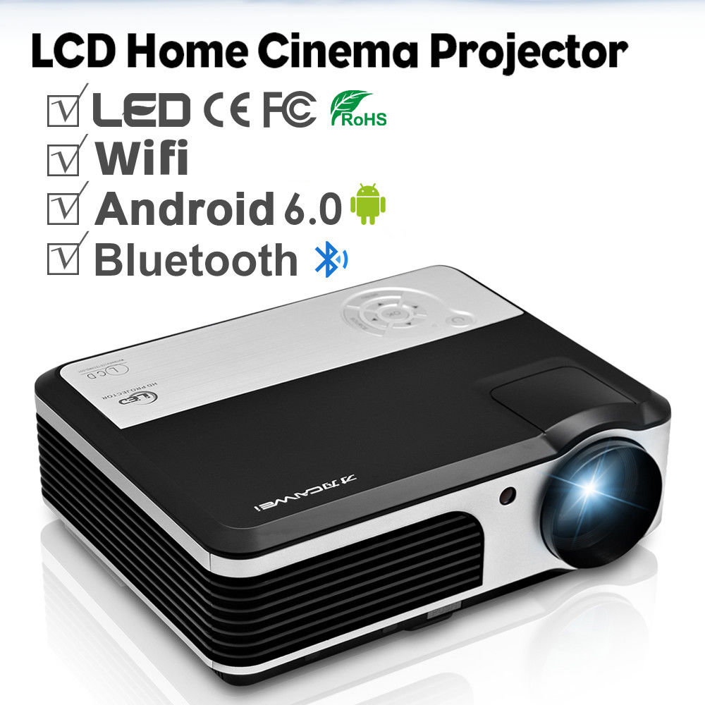 CAIWEI LCD Android WIFI Projector Bluetooth Multimedia Home Theater Beamer Suppo