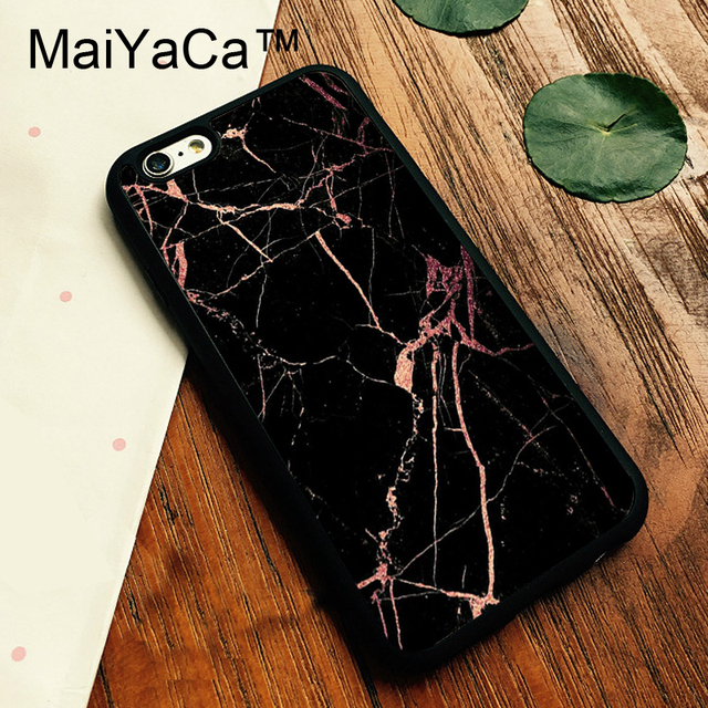 sale retailer 800d7 5abbf US $4.36 5% OFF|MaiYaCa Black with rose gold Marble Phone Case For Apple  iphone 6 Plus 6s Plus 5.5 inch luxury Back Rubber Case Cover-in Fitted  Cases ...