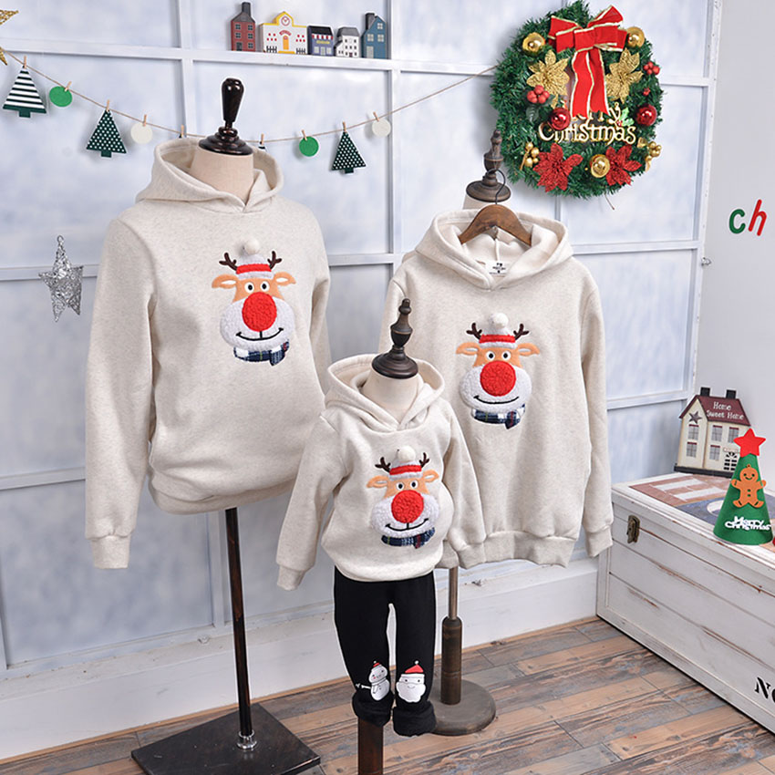 15Colors Family Matching Clothes Cartoon Christmas Tree Socks Deer Party costume Korean style Kids Hoodies Mommy and Me Sweaters