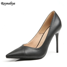 Women Genuine Leather Pumps Sexy Super 9CM High Heel Party Mature Pointed Toe Pumps 2018 Zapatos Mujer Shoes XZL-B0059 5cm 7cm 9cm designer genuine leather shoes women fashion bow thin high heel party shoes sexy pointed toe pumps shoes xzl a0026