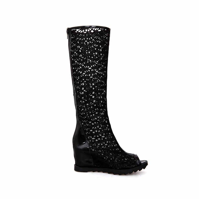 KARINLUNA/Новая Брендовая обувь на танкетке, на высоком каблуке, на молнии, высокое качество, увеличивающая рост Женские повседневные летние ботинки размер 34-39