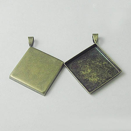 Blank Pendant Bases Square Deep Wall Bezel Tray Cups with Bail DIY Findings Settings 12mm - 25mm Multi-color Plated