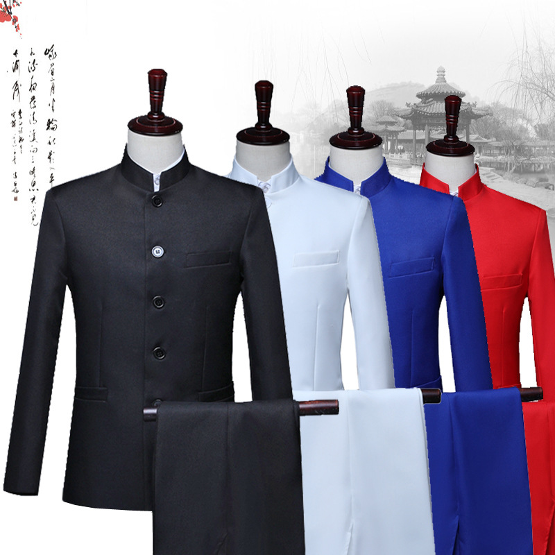 Suits Men 2019 New Long Sleeve Dress Men's Casual Wedding Banquet Suit Slim Fit Clothing Chinese Dress Two Piece Set Coat Pants