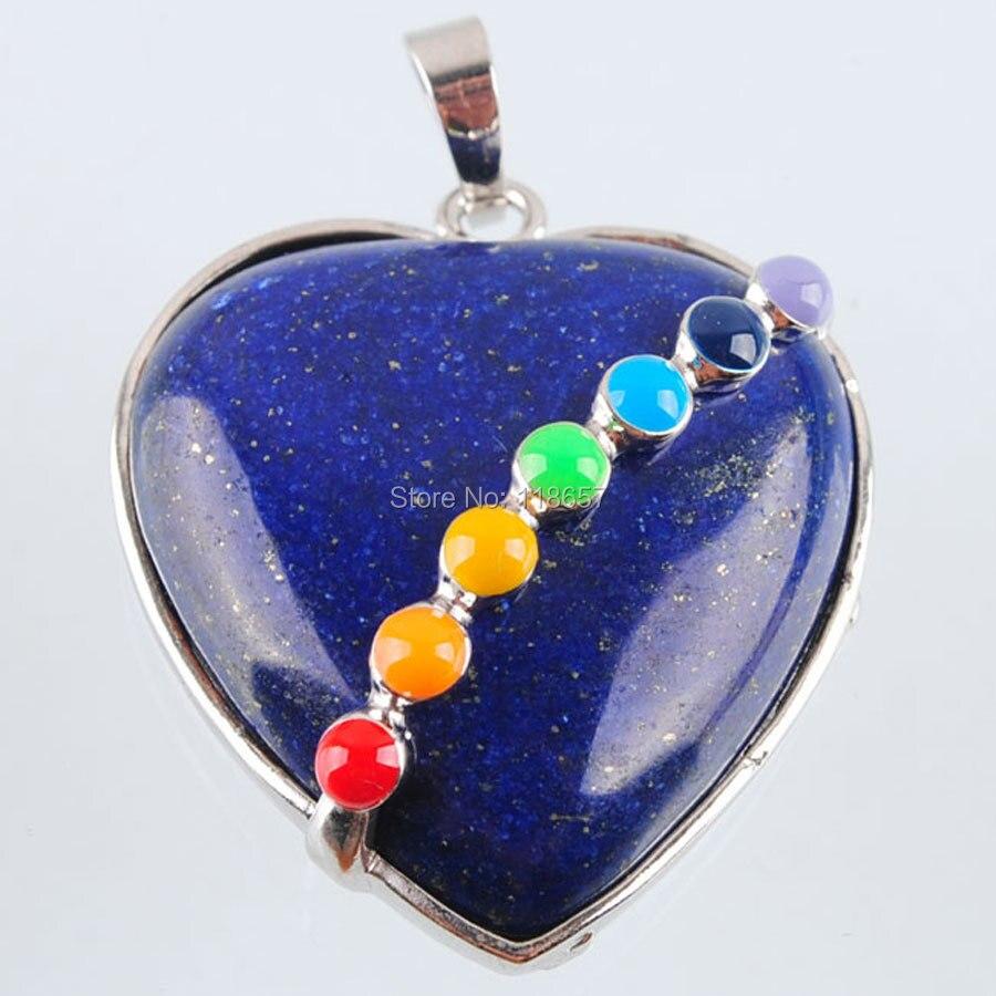 Free shipping Natural Lapis Lazuli Gem Stone Bead Heart Pointed Reiki Chakra Healing Pendant Jewelry 1pcs IN3194