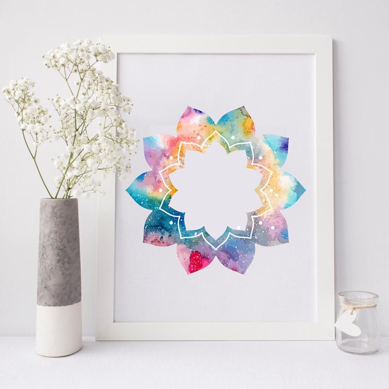Tableau, toile mandala fleur de lotus multicolore sur fond blanc