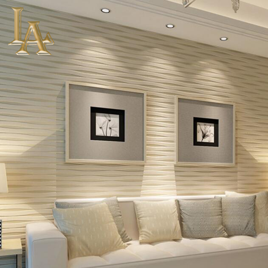 Modern Beige Horizontal Striped Wallpaper 3d Living Room Flocking  -> Sala De Tv Com Sofa Cinza