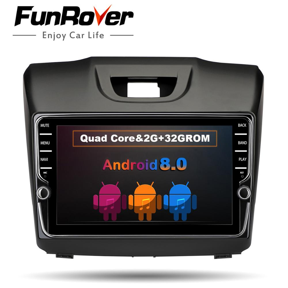Funrover IPS Android8.0 2 din Car DVD Radio multimedia Player for Chevrolet Trailblazer Colorado S10 Isuzu D-max MU-X stereo GPS цена
