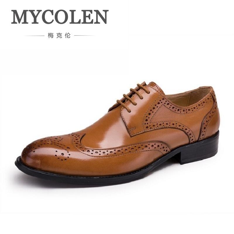 MYCOLEN Lace Up Designer Luxury Men Shoes Fashion Leather Dress Shoes Men Wedding Office Carved Hollow Oxfords Shoes Plus size