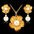 Fashion Trendy Women Girl Party Gold Plated wedding Necklace/Earrings Set Africa Gift Trendy Simulated-pearl Flower Jewelry Sets