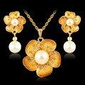 Moda Moda Mujeres de Partido de la Muchacha de Oro Plateado Collar de la boda/Los Pendientes África Simular-perla de la Flor de La Joyería de Moda de Regalo conjuntos