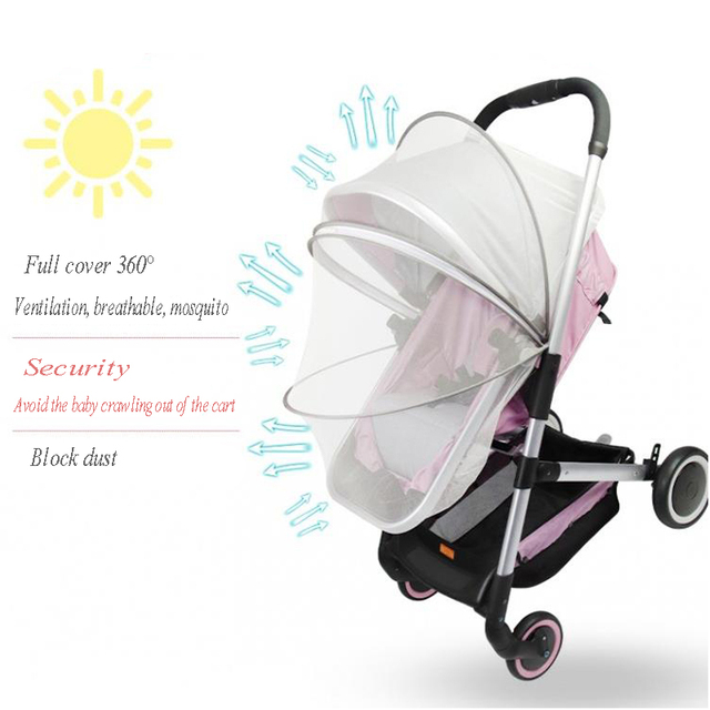 Baby Stroller Mosquito Insect Net Accessories Safe Mesh Buggy Crib Netting Cart Mosquito Net Pushchair Full Cover 2