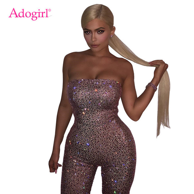 73229fadb7 Adogirl Sparkling Gold Pink Sequins Bandage Jumpsuit Women Sexy Strapless Romper  Night Club Birthday Party Playsuit Overalls