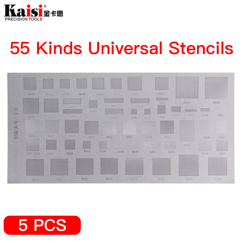 Kai 55 Kinds of Universal Phone Solder Paste BGA Reballing Stencils