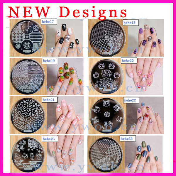 NEW ARRIVAL-hehe01-72 dia 5.5cm 10 PCS Round Nail Art Image Plate New Fashion Template Stamping Nail Art