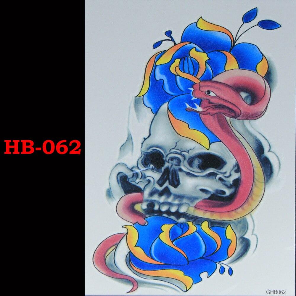 Den röda ormen Tillfälliga Tatto Vattentäta Män Kvinnor 3D Tattoo Arm Sticker Fake Arm Sleeve Body Tattoo Axel Tatueringar