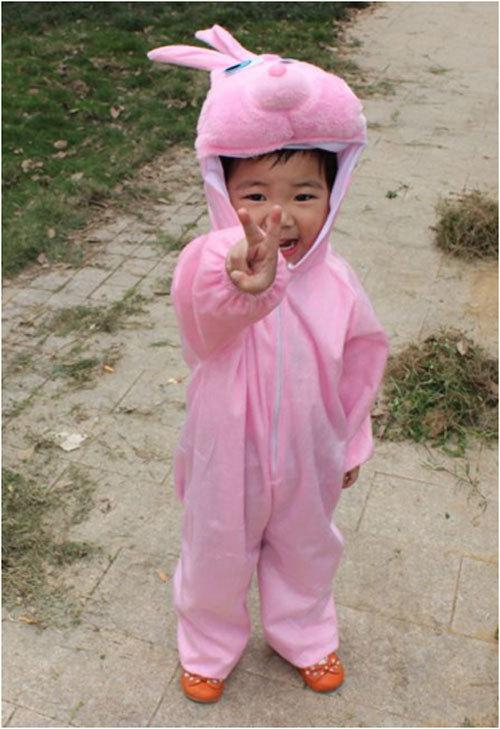 Easter Children Kids Girl Dziewczyna Cartoon Animal Pink Rabbit - Kostiumy - Zdjęcie 2