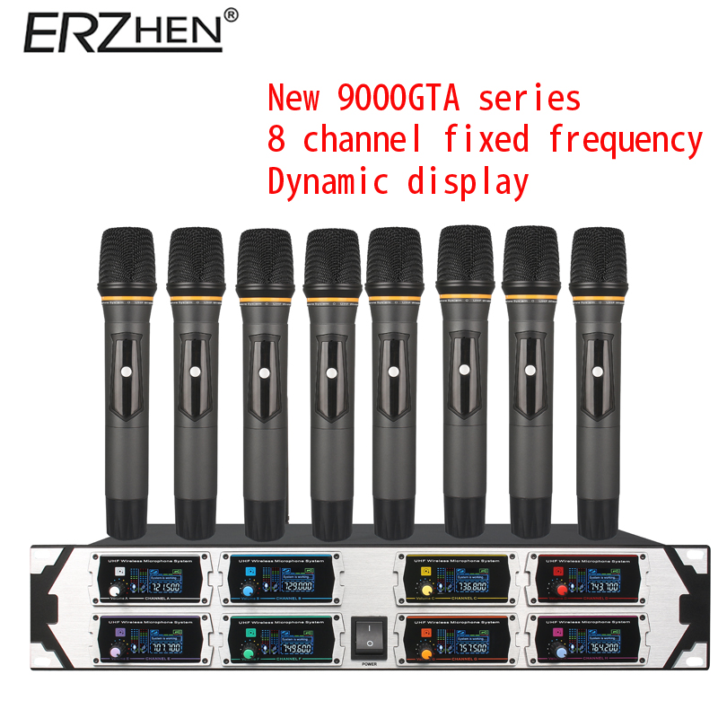 цена на Wireless Microphone New U9000GTA2 UHF 8 Channel Fixed Frequency + Dynamic Screen + KTV + Professional Microphone