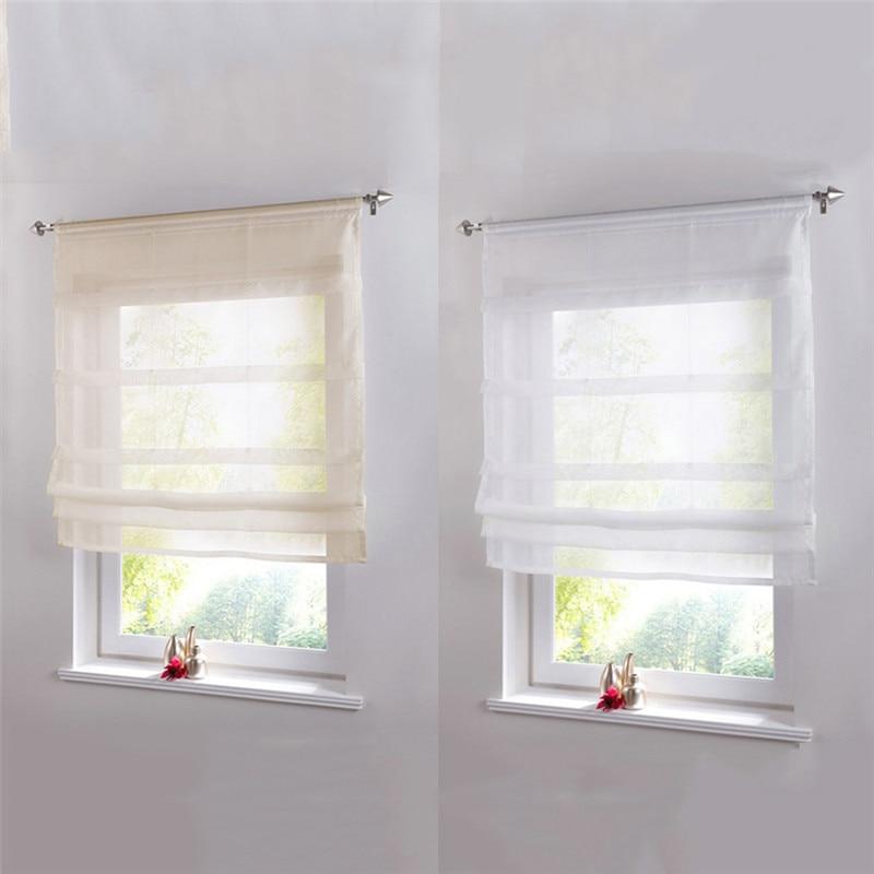 Pure Color Roman Venetian Blinds Balcony Kitchen Window Curtain Shower Wooden Pearl Decorative Bathroom Shower Curtain