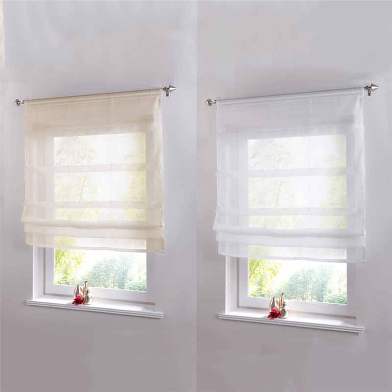 Pure Color Roman Venetian Blinds Balcony Kitchen Window Curtain Shower Wooden Pearl Decorative Bathroom Shower Curtain