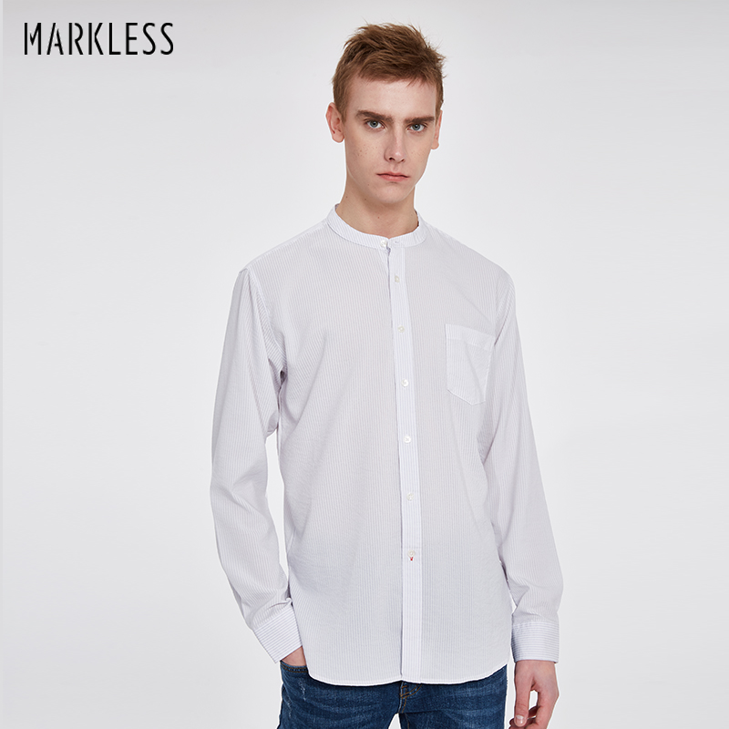 Markless Fashion Stripe Shirt Men Long Sleeve Business Casual Shirt Male Slim Stand Collar camisa masculina CSA8509M